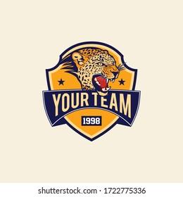 Retro vintage badge leopard for sport team logo template