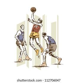 Retro Vintage Basketball Sports Vector