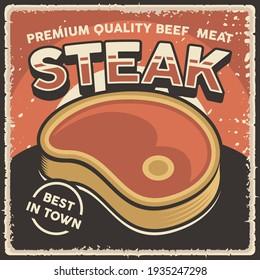 Retro Vintage Beef Steak Poster