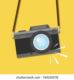 Retro, vintage camera, flat style design. Photo shooting. Vector illustration