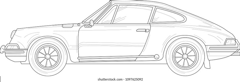 Retro vintage car with outlines. Vector illustration in black and white. Coloring paper, page, book