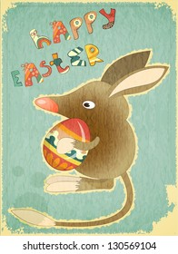 Retro Vintage Card with Easter Australian Bilby and Egg. Hand Lettering Happy Easter. Vector Illustration.