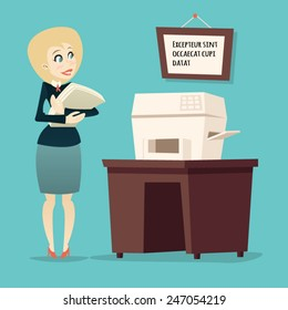 Retro Vintage Cartoon Businesswoman Character with Documents Office Printer Icon on Stylish Background Design Vector Illustration