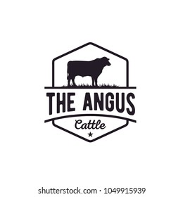 Retro Vintage Cattle Angus Beef Emblem Label logo design vector