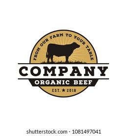 Retro Vintage Cattle / Angus / Beef Emblem Label logo design vector