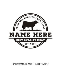 Retro Vintage Cattle / Angus / Beef Emblem Label logo design vector