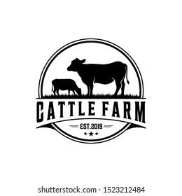 Retro Vintage Cattle / Beef Emblem Label logo design