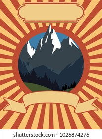 Retro vintage classic vector sign poster of a mountain landscape