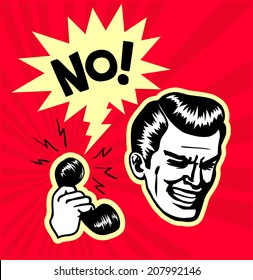 Retro vintage clipart: point-blank rejection, annoying telemarketing call center clerk gets an emphatic no