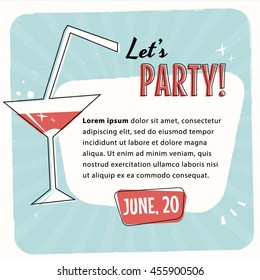 Retro vintage cocktail party vector layout