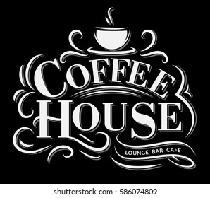 Retro Vintage Coffee Logo with Lettering. Coffee House Label with flourish ornaments.