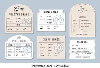 Retro vintage coffee and tea label set. Graphic modern label for coffee packing. Retro vintage old school design. Vector illustration.