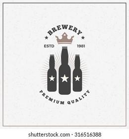 Retro Vintage Design Element for Brewery Badge, Logotype, Label. Vector Illustration