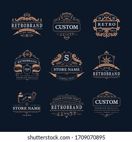 Retro vintage design emblems luxury logos collection with isolated logotypes of classic store names with decorations vector illustration