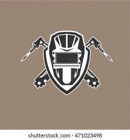 Retro vintage design logo with masks of the welder vector illustration