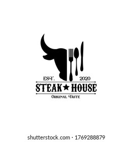 Retro vintage design of quality Steak for Steak House.