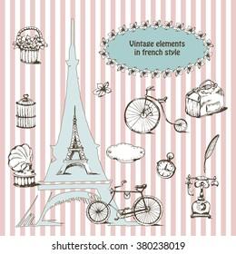 Фотообои retro and vintage elements with bikes, gramophone, Eiffel tower. Vector illustration