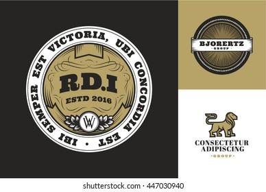 Retro Vintage Emblems or Logotypes set. Design elements, logos, identity, labels and badges for Designs: Logo, for Poster, Invitation, Card, etc. Vector logotypes.