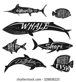 Retro, vintage fish with names. Vector tattoo set bream and dolphin, whale and batterfly, marlin illustration