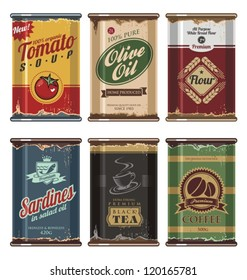 Retro and vintage food cans vector collection.