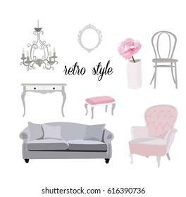retro vintage furniture collection.feminine romantic interior design style. Sofa, chair, dresser,mirror,peony vase.beautiful pink hand drawn realistic looking elements.