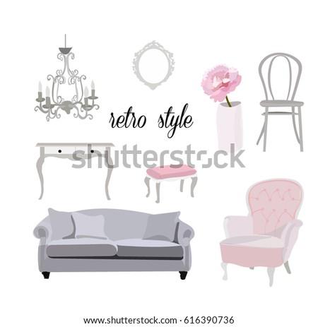Retro Vintage Furniture Collectionfeminine Romantic Interior Stock