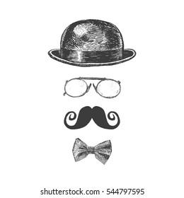Retro, vintage gentleman set. Bowler hat, moustache, eye-glasses and bow tie. Gentlemen icon collection. Hand drawn vector illustration