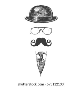 Retro, vintage gentleman set. Bowler hat, moustache, eye-glasses and tie. Gentlemen icon collection. Hand drawn vector illustration