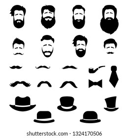 Retro, vintage gentleman set. A collection of diverse male faces, hats and mustaches. Vector art.