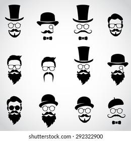 Retro, vintage gentleman set. Collection of diverse male faces. Vector art.