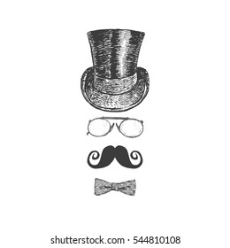 Retro, vintage gentleman set. Top hat, moustache, eye-glasses and bow tie. Gentlemen icon collection. Hand drawn vector illustration