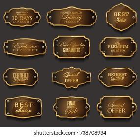 Retro vintage golden frames collection vector illustration