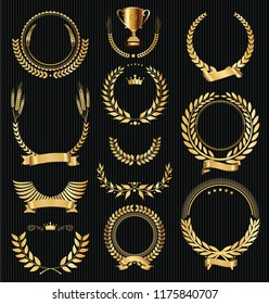 Retro vintage golden laurel wreaths collection vector