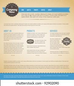 Retro vintage grunge web page template - blue version
