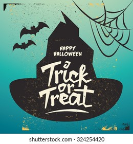 Retro Vintage Halloween Vector Background with Grunge Effect - Trick or Treat