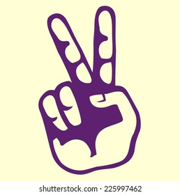 retro vintage hand victory sign simple vector, or peace sign or scissors