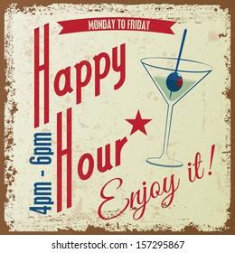 Retro Vintage Happy Hour drink Typographical background, Vector design