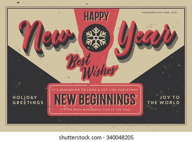 Retro Vintage Happy New Year Background for Greeting Card, Poster, Label and Other Decoration Surface with Typographic Elements