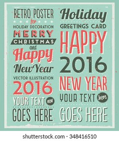 Retro Vintage Happy New Year Background for Greeting Card, Poster, Label and Other Decoration with Typographic Elements