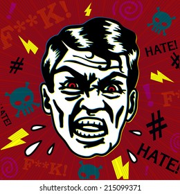 Retro vintage hater man with angry face swearing, yelling and insulting with rage