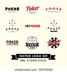 Retro Vintage Hipster Poker Vector Logo Set.