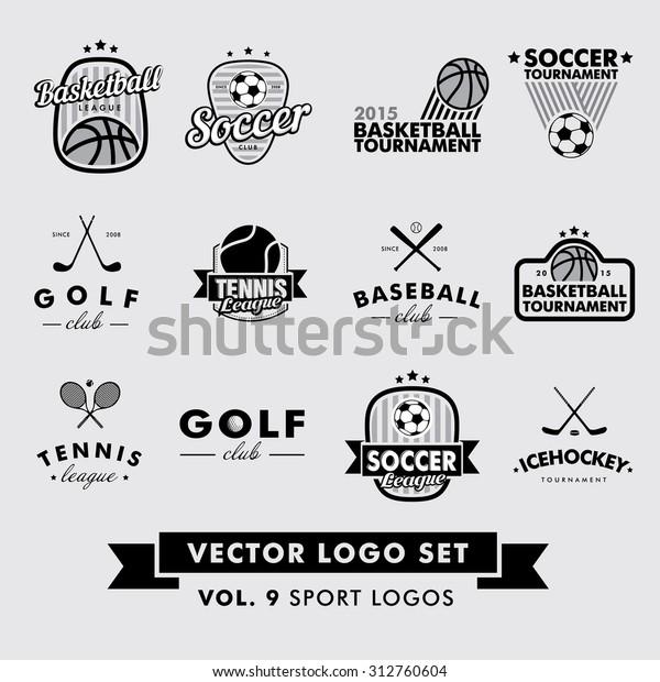 Retro Vintage Hipster Sport Vector Logo Stock Vektorgrafik