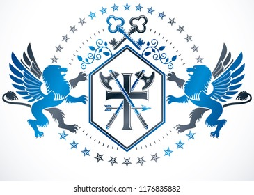 Retro vintage Insignia created with vector design elements like mythic gryphon, keys and religious cross.