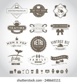 Retro vintage insignia set EPS 10 vector royalty free stock illustration