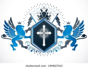 Retro vintage Insignia. Vector design element made using religious cross, mythic gryphon and pentagonal stars.