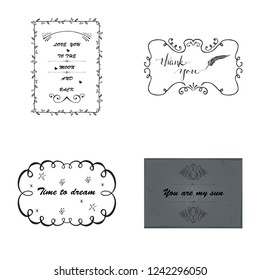 Retro Vintage Insignias or Logotypes set with floral elements and ribbons. Vector design elements, business signs, logos, identity, labels, badges and objects. Vector.