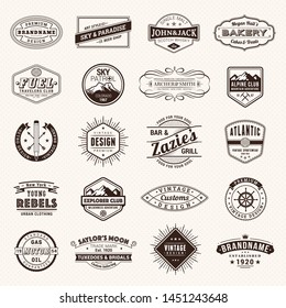 Retro Vintage Insignias or Logotypes set. Vector design elements, business signs, logos, identity, labels, badges and objects