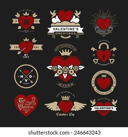 Retro Vintage Insignias or Logotypes set for Valentines day. Vector tags, calligraphic and typographic elements, signs, logos, labels, badges and objects.