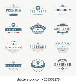 Retro Vintage Insignias or Logotypes set. Vector design elements, business signs, logos, identity, labels, badges, apparel, t- shirts, ribbons, stickers and other branding objects.