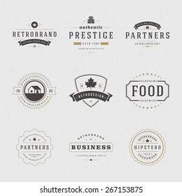 Retro Vintage Insignias or Logotypes set. Vector design elements, business signs, logos, identity, labels, badges, apparel, shirts, ribbons, stickers and other branding objects.